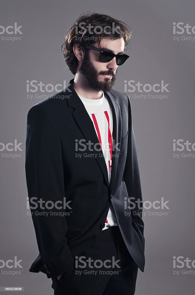 Trendy boy with beard royalty-free stock photo