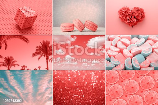 istock Trendy collage in Living Coral color of the Year 2019 1079743392
