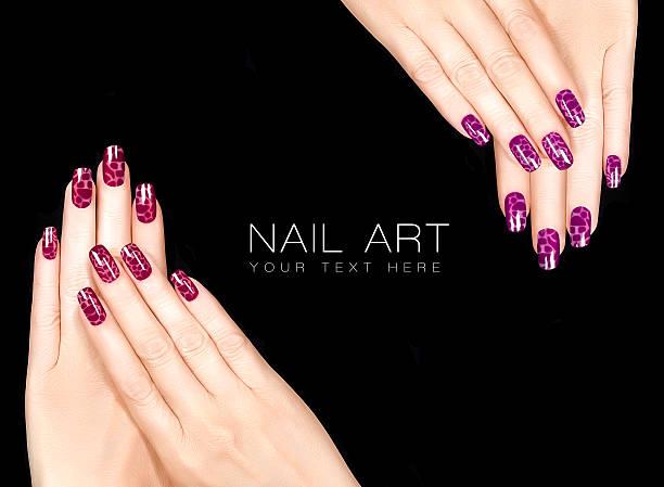 Trendy Colorful Nail Art. Crackle Nail Lacquer. Stylish Nail Tattoo stock photo