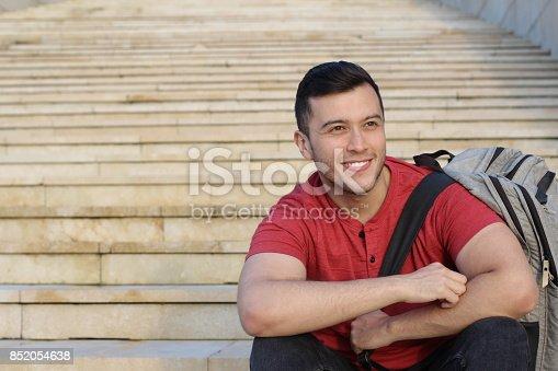 istock Trendy ethnic student heading to the university 852054638