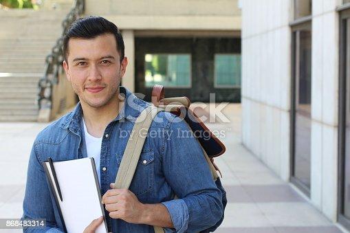 istock Trendy ethnic student heading to the university 868483314