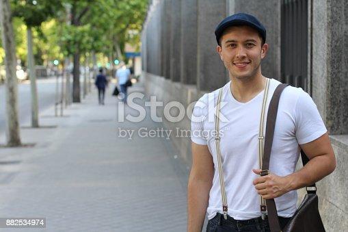 istock Trendy ethnic student heading to the university 882534974