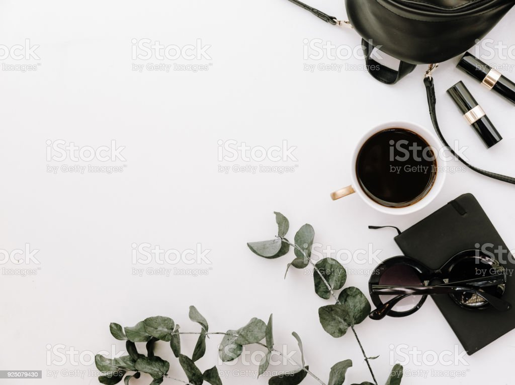 Trendy fashion accessories arrangement on white, flat lay, top view, copy space stock photo