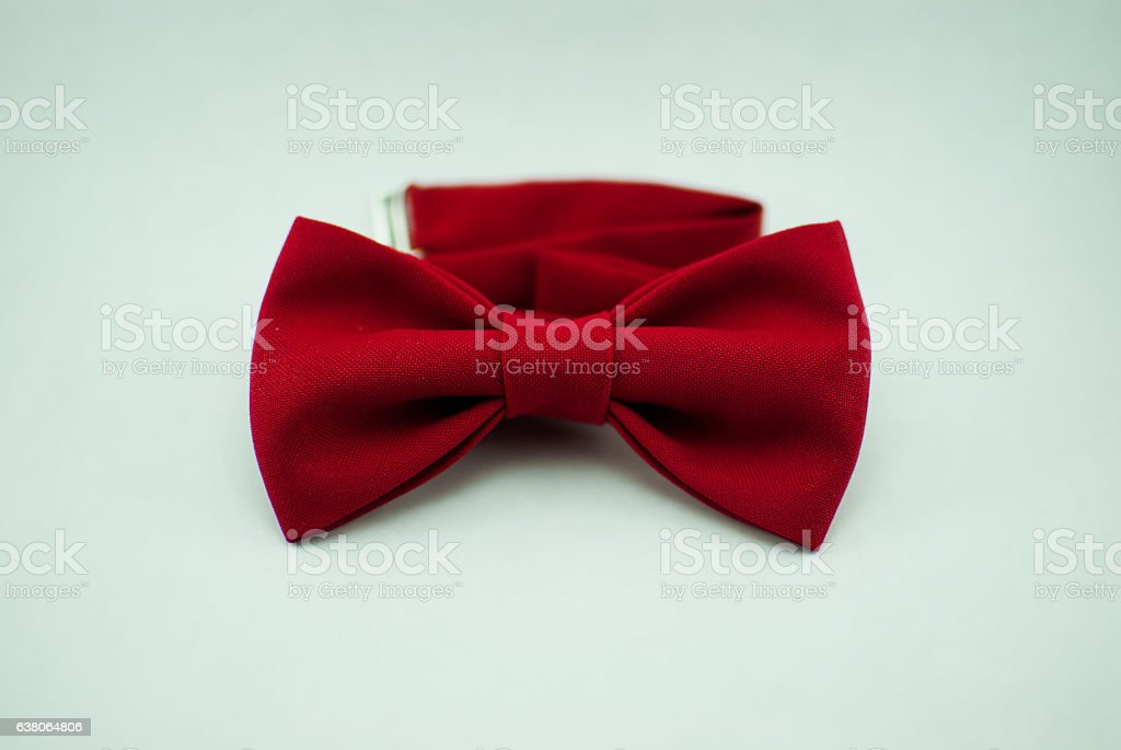 Trendy fashionable red bow tie; isolated stock photo