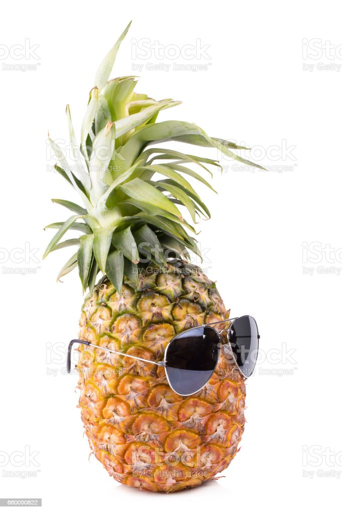 Trendy glasses summer pineapple wearing hipster style on white background stock photo