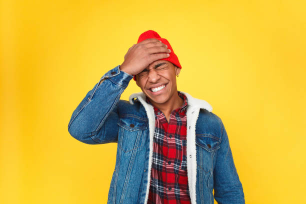 trendy guy upset with forgetting things - reminder stock photos and pictures