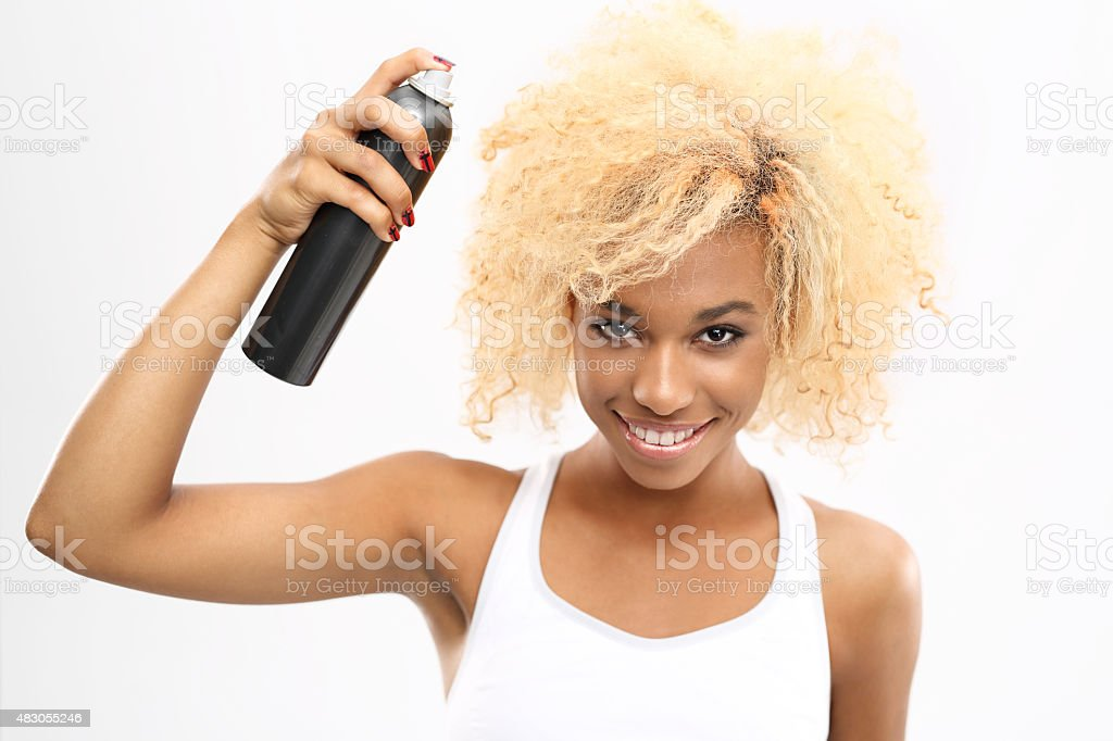 Trendy hairstyle, afro stock photo
