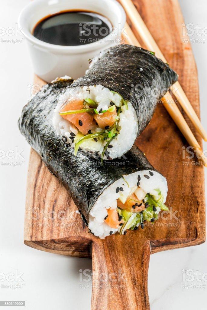 Trendy hybrid sushi stock photo