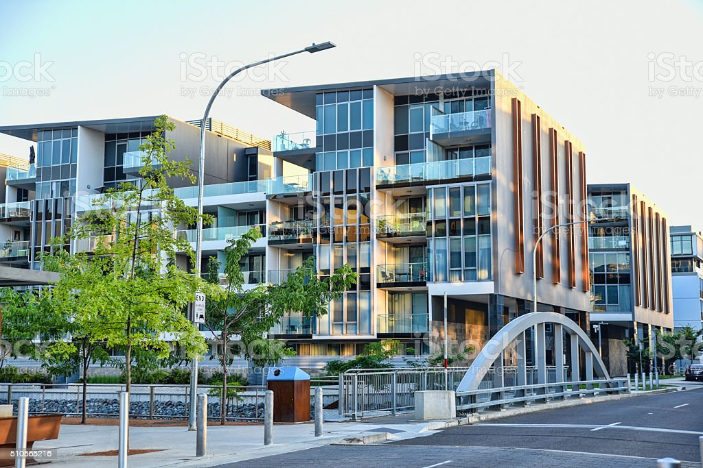 Trendy Kingston Foreshore suburb along the canal to the lake stock photo