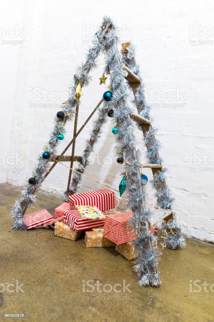Ladder Christmas Tree.Trendy Ladder Christmas Tree Stock Photo Download Image