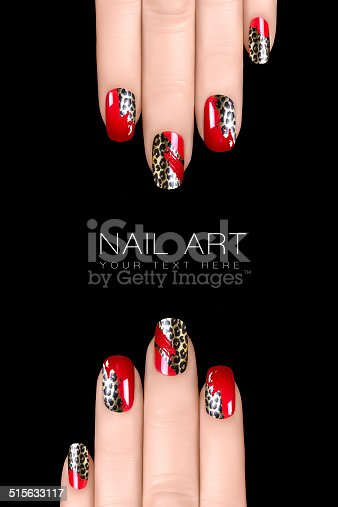 istock Trendy Leopard Nail Art. Nail Polish Stickers. Trend Animal Print 515633117