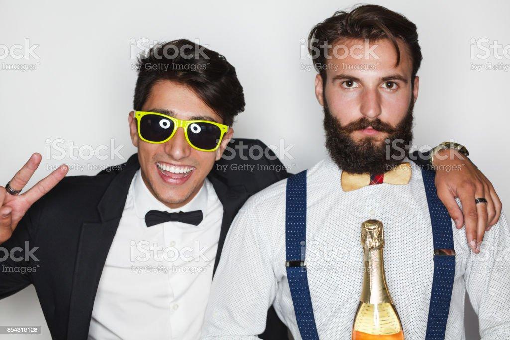 Trendy men in formal suits stock photo