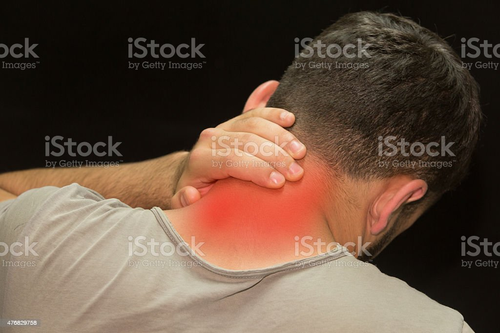 Trendy model having a painful neck