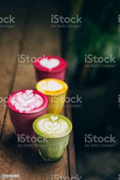 Trendy multicolored lattes picture id973293958?b=1&k=6&m=973293958&s=612x612&h=pxv 2beqiwb4pob13qxrjrkb7rwcujjmp1j0gyzjrv0=
