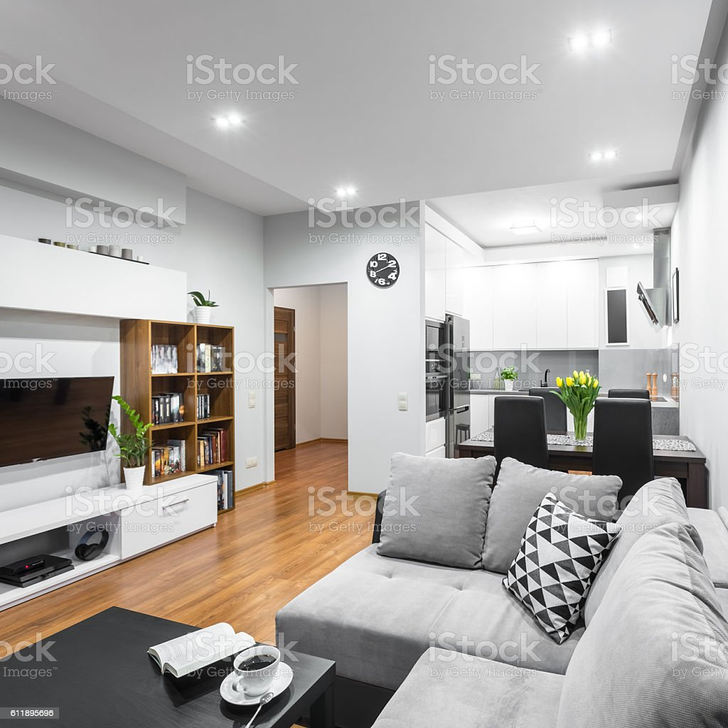 Trendy open floor plan idea stock photo