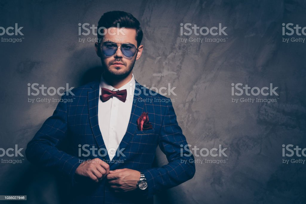 8a97f0c27c9 Trendy stylish style people person lifestyle concept. Close up studio photo  portrait of attractive serious confident rich gentleman taking on new  designed ...