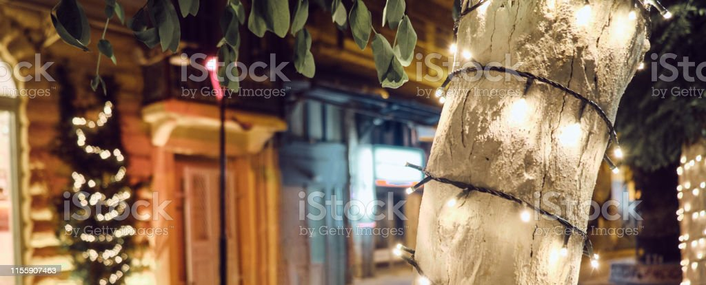 trendy tree decorated with lights in the street near the outdoor...