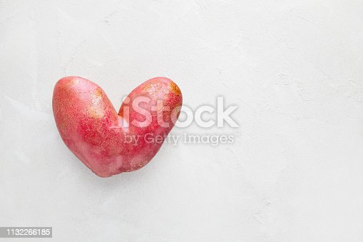 Trendy ugly organic conjoined siamese potato from home garden on a white background with copy space. Ugly vegetable or food waste concept.