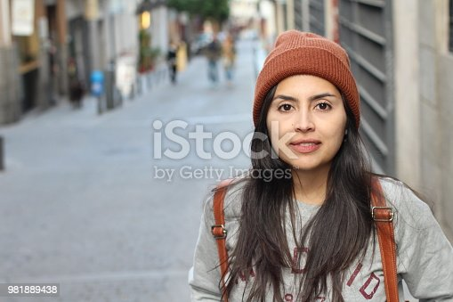 Trendy urban latin woman with copy space.