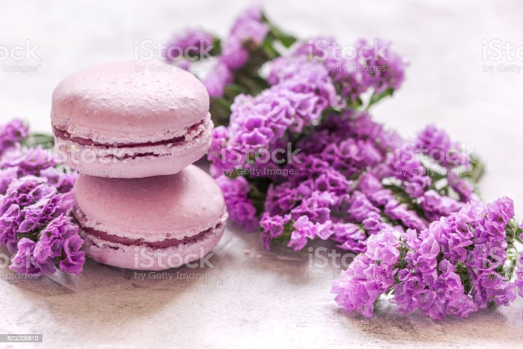 Trendy woman pattern with spring flowers and macaroons on plate stock photo