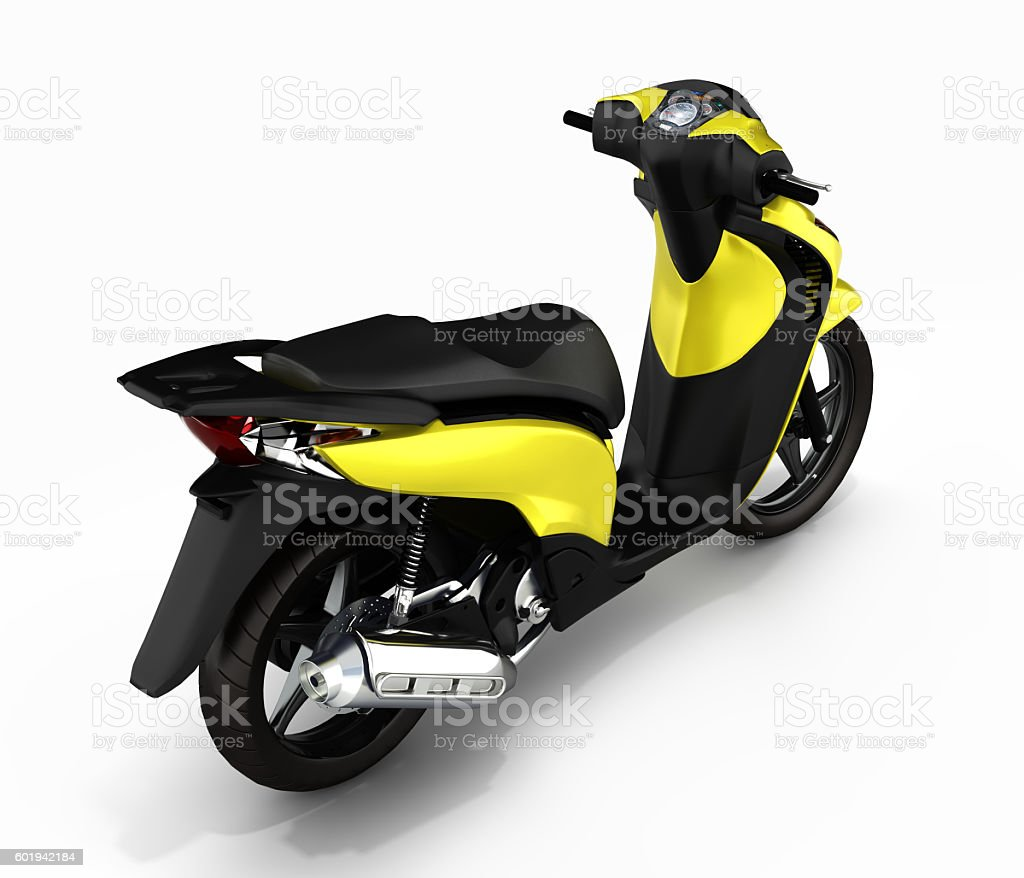 Trendy yellow scooter on white background 3d stock photo