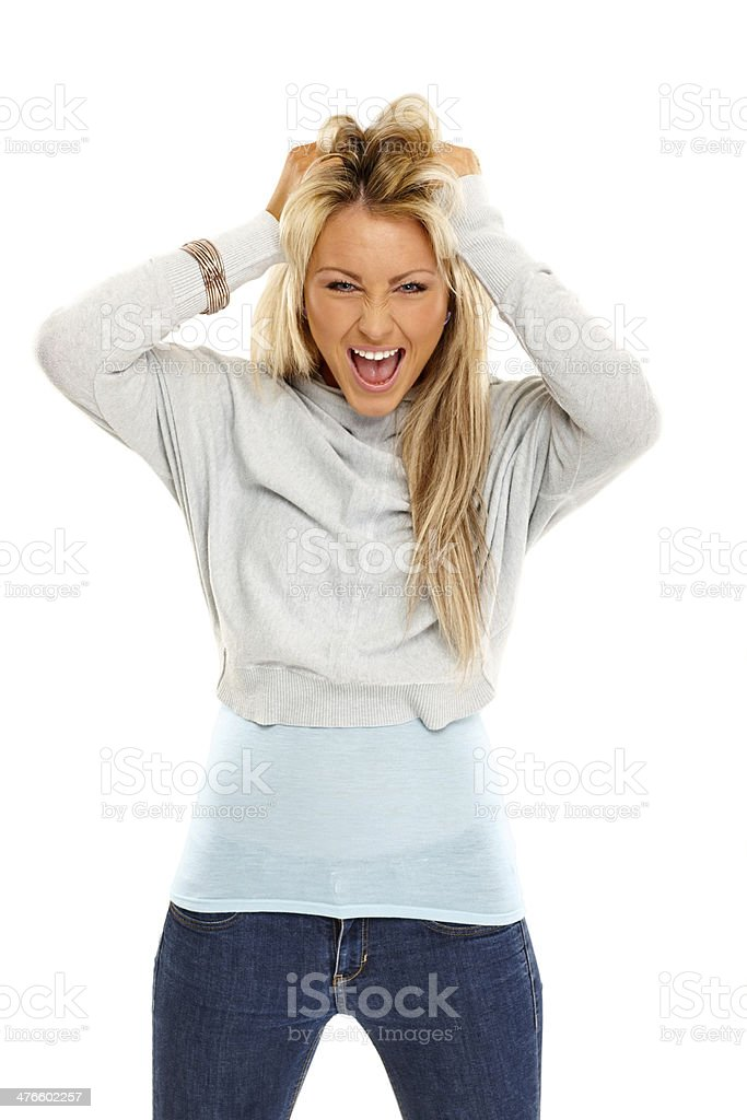 Trendy young woman looking excited royalty-free stock photo