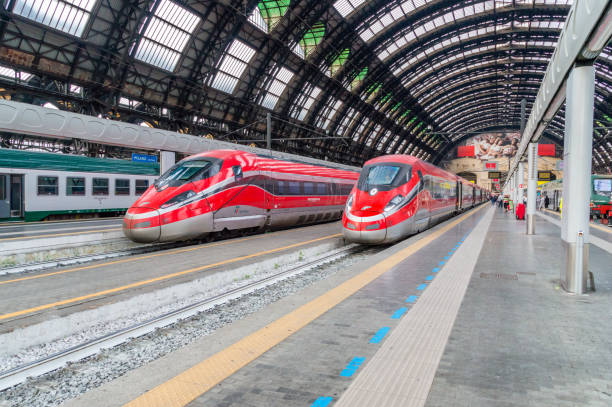 trenitalia high-speed train at the milan central station. - milan railway foto e immagini stock