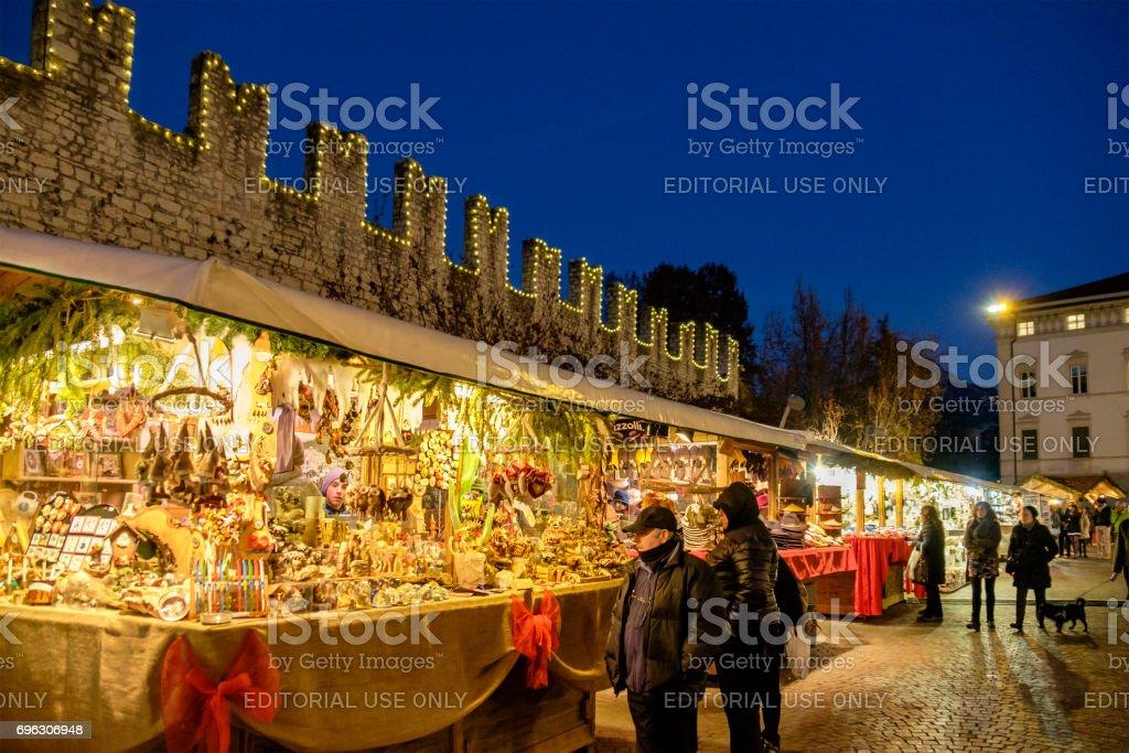 Trento at Christmas, Piazza Fiera - Italy stock photo