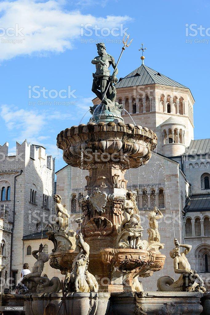 Trento - fontana del Nettuno stock photo
