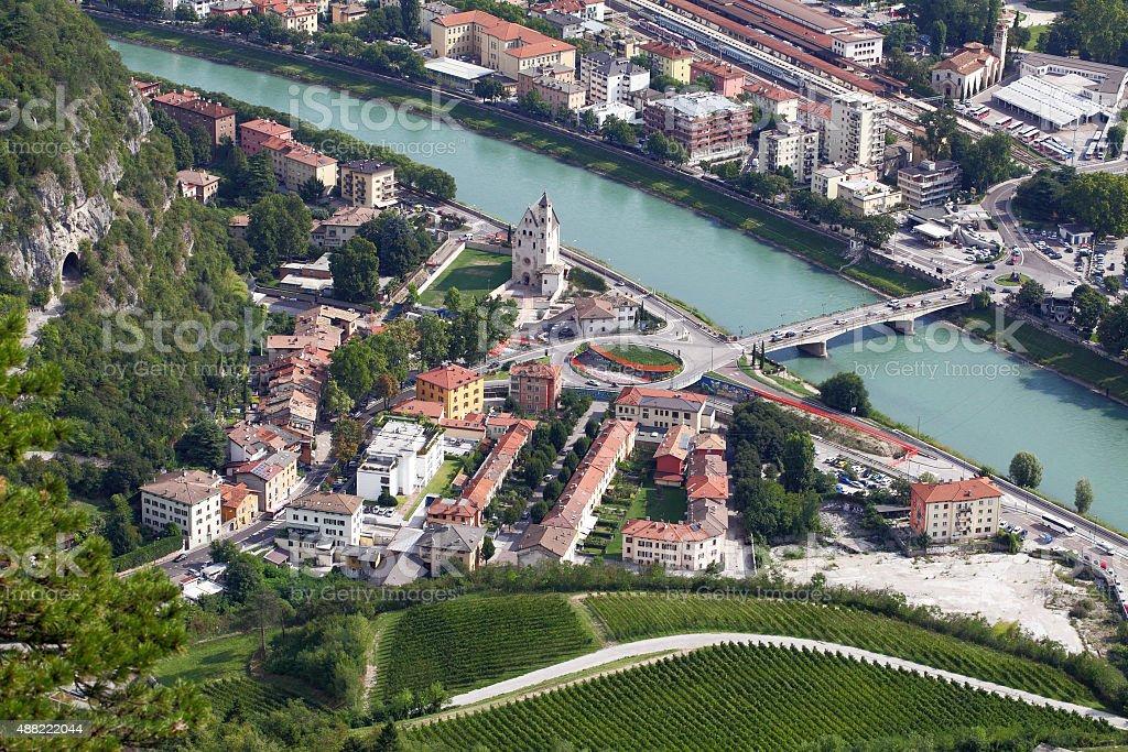 Trento,Italy and River Adige stock photo