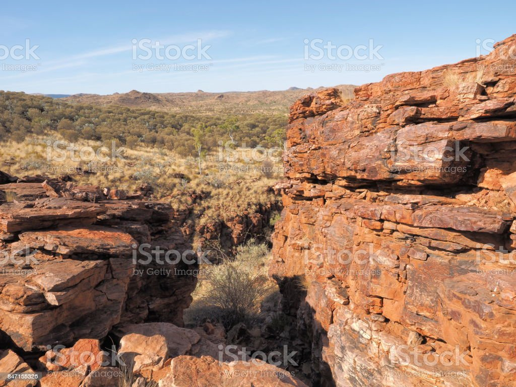 Trephina Gorge seen from the ridge, east MacDonnell ranges near Alice Springs stock photo