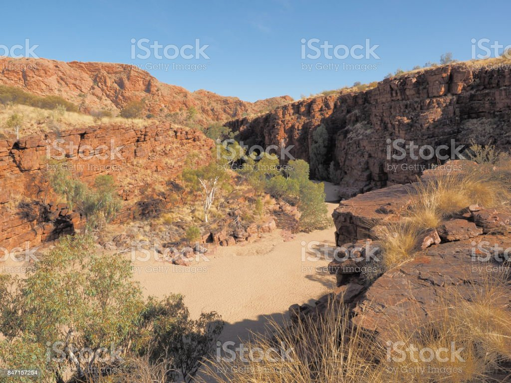 Trephina Gorge seen from the ridge, east MacDonnell ranges near Alice Springs, Northern Territory, Australia 2017 stock photo