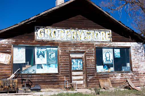 Tres Piedras, NM: A rustic abandoned grocery store in Tres Piedras, a village near Taso, NM.