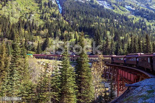 As as we ride up the White Pass Mountain on a Tourist Railway we boarded near Skagway Alaska, we cross a century old Trestle above a river bed.