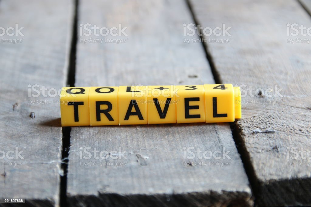 Trevel word on retro table stock photo