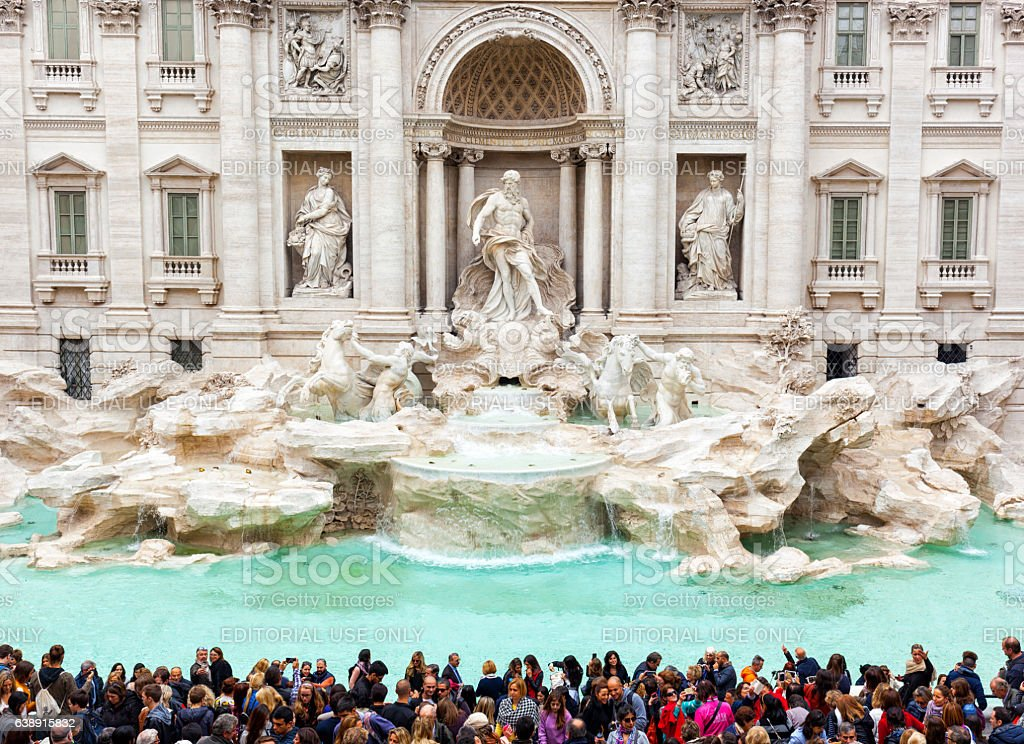 Trevi fountain after renovation. stock photo