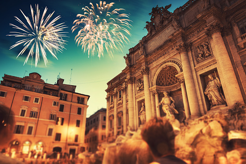 Trevi fountain at night during the new year