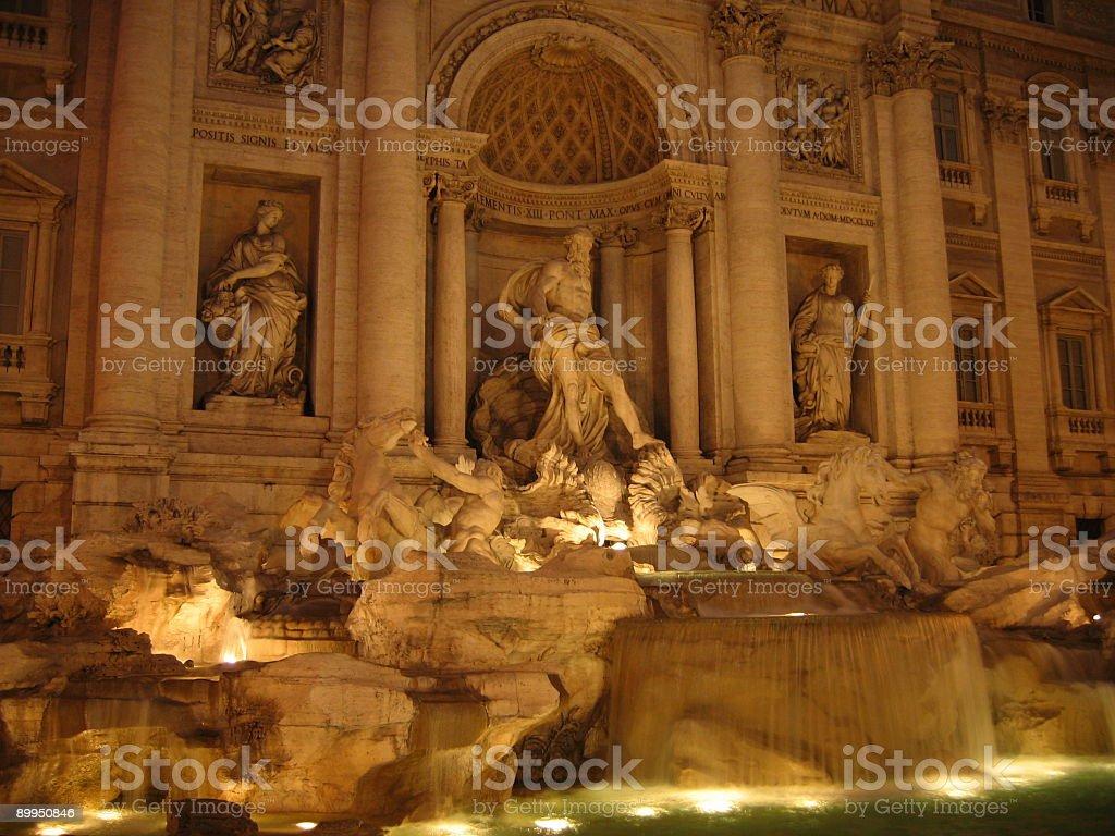 Trevi Fountain at night stock photo