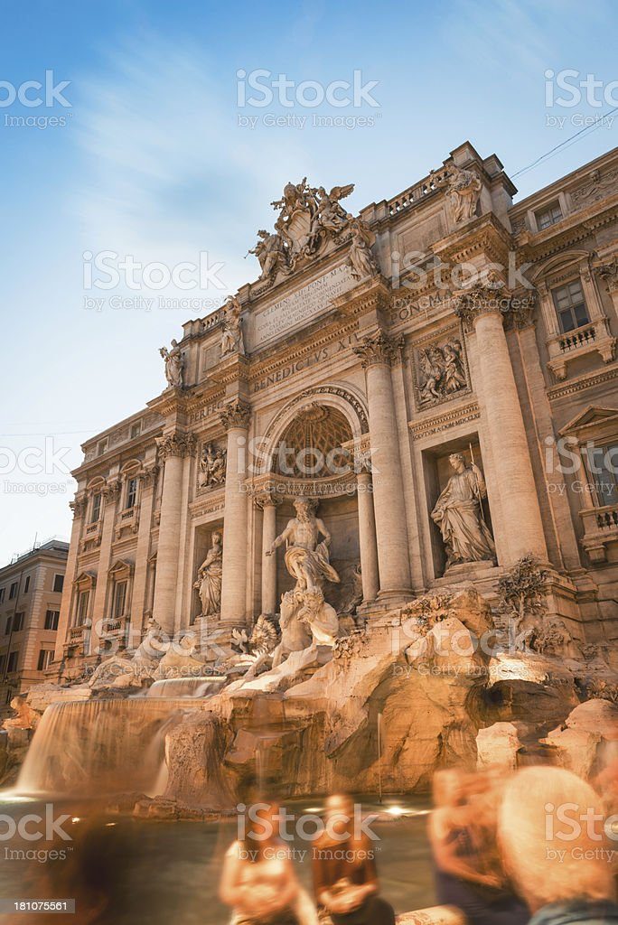 Trevi fountain full of tourist royalty-free stock photo