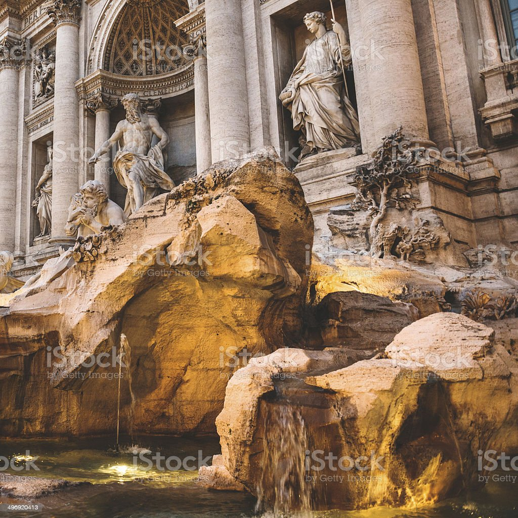 Trevi fountain in Rome at sunset royalty-free stock photo