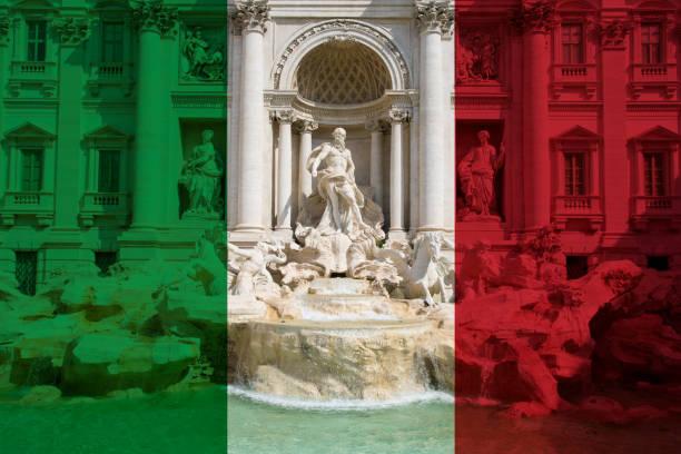 Trevi Fountain in Rome in colors of Italian flag stock photo