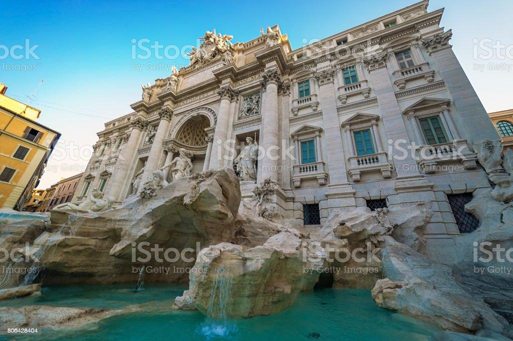 Trevi Fountain in Rome, Italy, at morning light stock photo