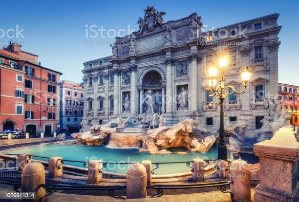 Trevi fountain in rome italy at sunrise scenic travel background picture id1026611314?b=1&k=6&m=1026611314&s=612x612&h=h80gets4xpaqgjcs fhu05jj bivh2rpgdsqses td0=