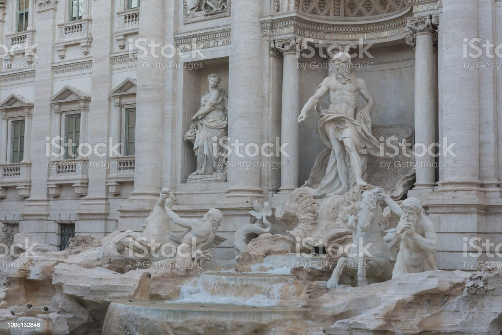 Trevi fountain in the morning, Rome, Italy. Rome baroque architecture...