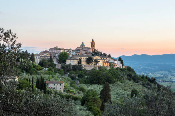 Trevi skyline at dusk, Umbria Italy Medieval hilltop village Trevi surrounded by olive groves, Perugia Province umbria stock pictures, royalty-free photos & images