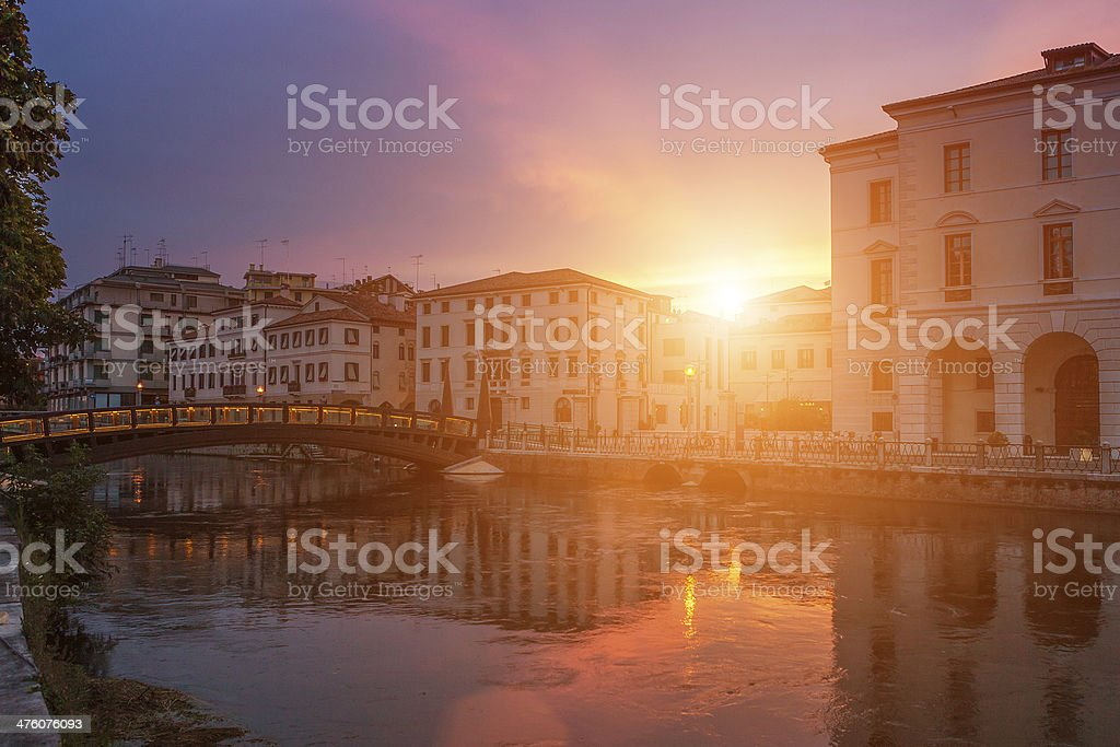 Treviso at dusk, Italy stock photo