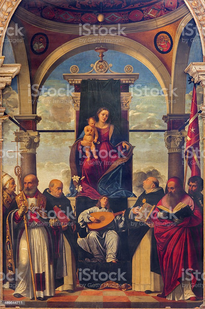 Treviso -  Madonna on the tron in church saint Nicholas. stock photo