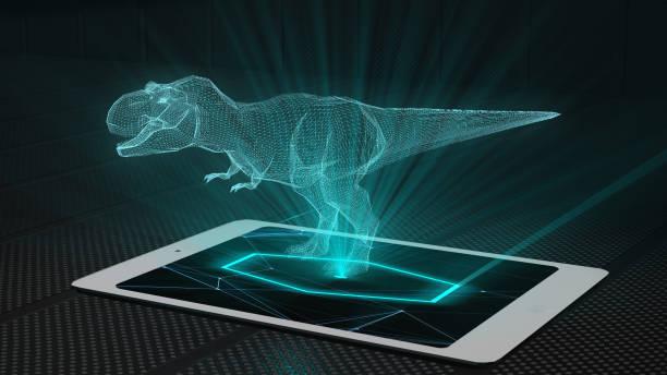 t-rex spiel projektion futuristische holographische anzeige hologramm-technologie - dinosaurier illustration stock-fotos und bilder