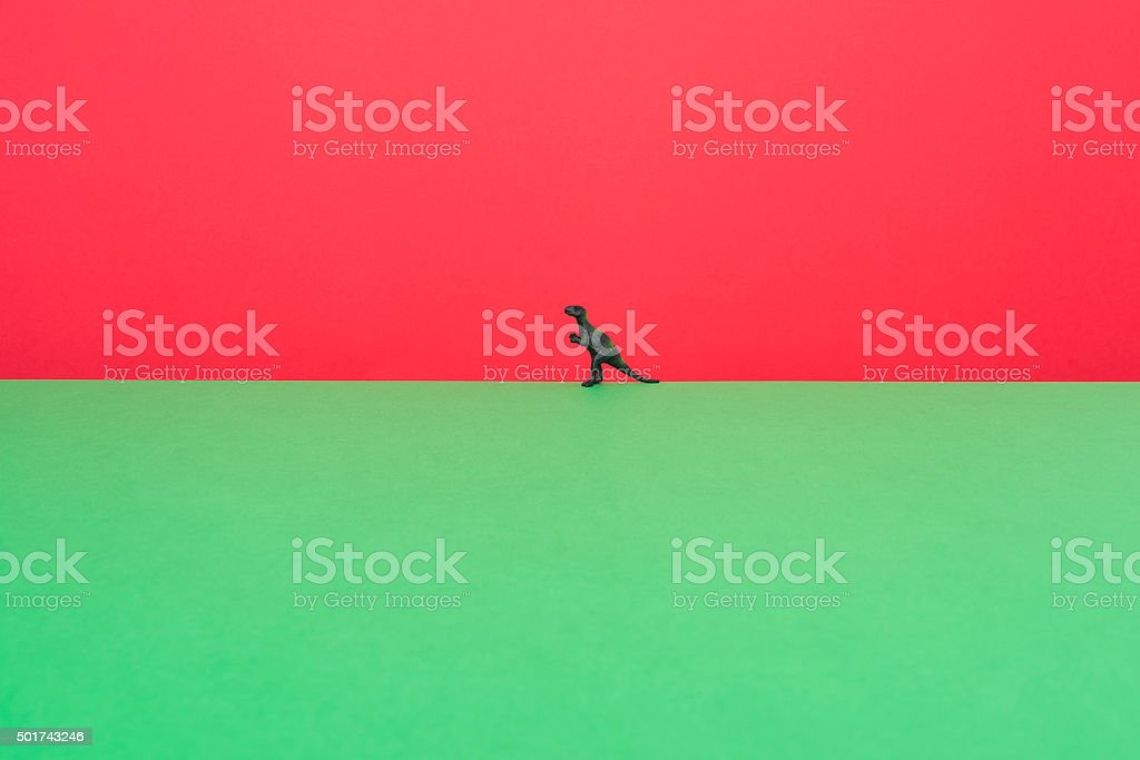 T-Rex on two color layers stock photo