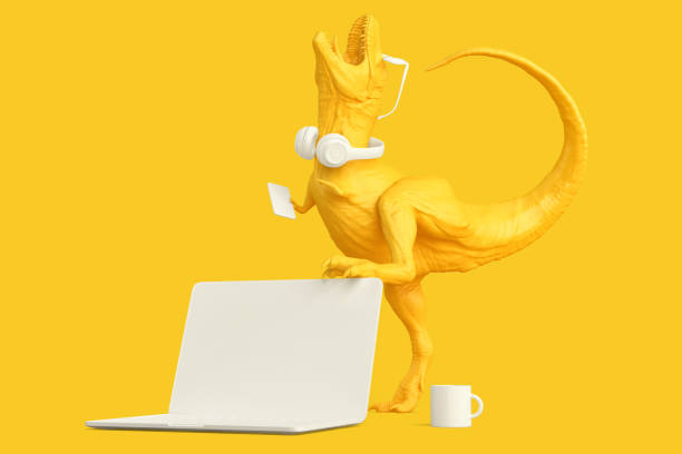 T-rex with laptop and other accessories. Technology concept. 3D rendering stock photo